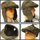 BRAND NEW WINTER IVY NEWSBOY WITH WARM EARFLAP BROWN THICK TWEED CABBIE HAT CAP