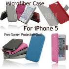 Microfibre Smart Case Cover For iPhone 5 Sleep Wake Free Screen Protector+Cloth
