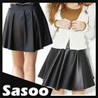 new high waisted faux LEATHER SKATER FLARED pleated mini skirt BLACK XS S M