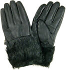 Ladies Fake Fur Leather Gloves With Inside Fleece Lining