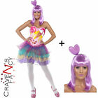 Ladies Candy Queen Pop Star Cup Cake Katy Perry Fancy Dress Costume Adult & WIG