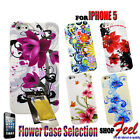 COLOURFUL FLOWER SOFT PHONE CASE COVER FOR IPHONE 5 5G + FREE SCREEN PROTECTOR