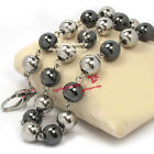 10mm Solid Beads Steel Silver Healthy Magnetic Black Stone Balls  Necklace