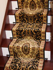 Black Beige Old Style Border Thick Extra Long Any Length Stair Carpet Runner Rug