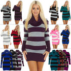 Womens Ladies Long Sleeve Cowl Neck Striped Knitted Jumper Dress Size 8-14 S-XL