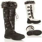 WOMENS LADIES WINTER LOW HEEL FLAT FUR LINED ZIP SNOW CALF MOON BOOTS SIZE