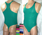 RE441 Hot Mens Bodysuit Stretch Swimsuit Soft Thin Tricot Thong Leotard