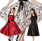 Hell Bunny Red Tattoo Flock Swing 50s Rockabilly Formal Dance Prom Pin Up Satin