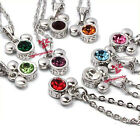 Kids Girls GIFT Disney Mickey Mouse Birthstone Crystal Chain Necklace Silver