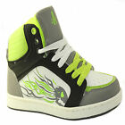 BOYS HI HIGH TOPS TRAINERS CASUAL PARTY SKATE BASEBALL ANKLE BOOTS LACE UP PARTY