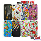 8 COLOUR BUTTERFLY FLOWER SOFT RUBBER GEL MOBILE PHONE CASE COVER FOR iPHONE 4S