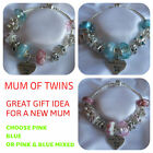 LADIES CHARM BRACELET MUM OF TWINS PINK - BLUE OR MIXED COLOURS NEW BABY GIFT