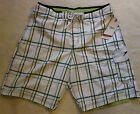 New Men Speedo Swimwear shorts - White Color Plaids Swim Trunks Watershorts # 12