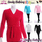 Womens Knitted Jumpers Short Dress Belt Ladies Bubble Top size 8 10 12 14 16 18