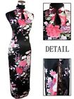 CF white black blue red Chinese silk Women's Dress Cheongsam SZ:6.8.10.12.14.16