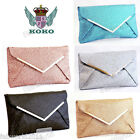 KOKO Glitter SILVER BLACK GOLD CHAMPAGNE BLUE Envelope Clutch Handbag #922