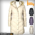 ililily Ultra-lightweight Jacket Puffer Coat Duck-down Parka Fur Trim Hood 047