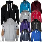 New Mens Suede Patch Fleece Zip Hoody Hoodie Sweatshirt Top Size S M L XL XXL
