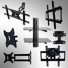 "17""-70"" TV Mount Bracket Tilt Swivel with Black Glass Floating Two-Shelf Shelves"