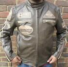 MENS DARK BROWN MOTORCYCLE MOTORBIKER RUNWAY RACING COWHIDE LEATHER JACKET