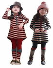 Kids Girls Clothes Stripe Top Dress+Leggings 2-7Y Pants Bowknot 2pcs Sets Outfit