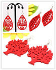 Assorted Handmade Red Wooden Carved Beads Hoop Earrings More Styles Options