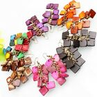 Handmade Coconut Shell Carved Rhombus Beads Hoop Earrings More Colors Options