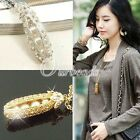 New Fashion Jewelry Gold Silver Plated Crystal Rhinestones Pearl Pea Necklace