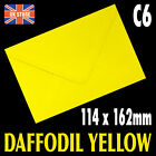 A6 C6 Daffodil Yellow Quality Gummed Flap Envelopes - 10's,20's,30's,40's,50's