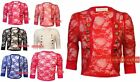 Q04 WOMENS LADIES RUCHED SLEEVE FLORAL LACE MILTARY STYLE CROPP BOLERO SHRUG TOP