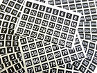 White Numbers on Black 20mm Square Plastic Labels or Consecutive Number Stickers