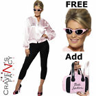 Pink Ladies Grease Licensed Jacket Lady 70s Fancy Dress FREE Shades Add Bag Hen