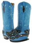 Women's blue brown cowboy boots ladies leather floral engraved western rodeo