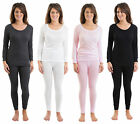 Set Of 4 Colours Womens Thermal Underwear Set Long Sleeve Vest & Long Pants