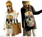 Fashion Womens Colorful Skull Skeleton Batwing Large Loose Blouse Tops T-shirts