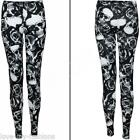 New Womens Ladies Skull Rose Goth Print Full Length Leggings Size S M L XL 8-18