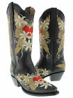 New women's cowboy boots gringo love heart ladies old snip toe embroidered wings