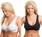 Front Fastening Bras White Black Skin Nude Soft Cotton w Elastane Full Coverage