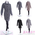 Ladies Long Knitted Cardigan Belt Cable Chunky Top Button Plus Size 16 - 24