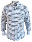 Mens White Navy Blue Stars Button Down Collar Tailored Shirt Long Sleeve New