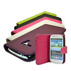 4 COLOUR WALLET STYLE FLIP PHONE CASE COVER FOR SAMSUNG GALAXY S3 Mini i8190