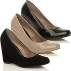 WOMENS LADIES MID HIGH HEEL WEDGE ROUND TOE PUMPS WORK COURT SHOES SIZE
