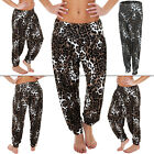 NEW Womens Ladies ALI BABA Brown White Print Trouser Legging Size 8-14 S M L XL