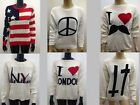 New Ladies KNITTED LAtest top jumper NY I LOVE LONDON MOUSTACHE PEACE CROSS USA