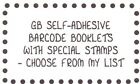 CHOOSE YOUR Self-Adhesive Barcode Booklet with Special stamps