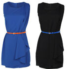 Womens OL Lady Career Round Neck Sleeveless Irregular Mini Dress Club Party+Belt
