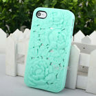 Fashion 3D Sculpture Design Rose Flower Hard Case Cover for iPhone 4 4S+LCD Film