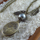 VINTAGE ANTIQUE STYLE VICTORIAN NECKLACE FLORAL LOCKET & PEARL LONG BRONZE CHAIN