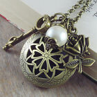 VINTAGE ANTIQUE STYLE VICTORIAN NECKLACE LOCKET ROSE & PEARL LONG BRONZE CHAIN
