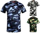 Mens Camouflage camo t shirt blue brown green fishing paintballing hunting